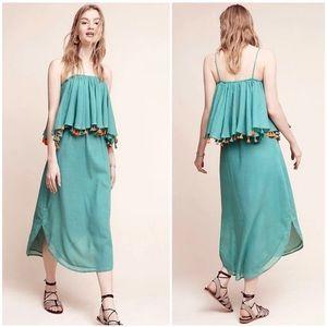 Carolina K Midi Green Tiered Tassel Dress XS